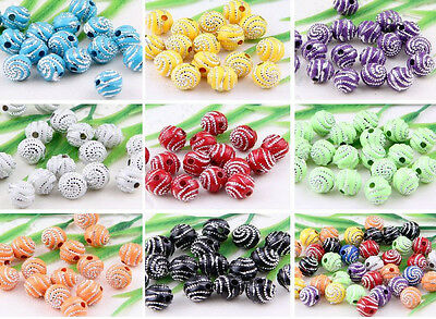 100Pcs 10Colors-1Or Mixed Acrylic Round Curly Round Ball Loose Spacer Beads 8mm