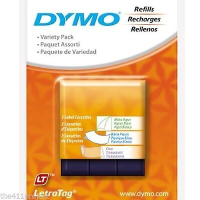 3PK Dymo Letra Tag Labels LetraTag Refill Tapes (Paper, White & Clear Plastic)