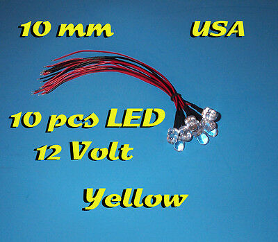 10 pcs LED - 10mm YELLOW - PRE WIRED LEDS 12 VOLT 12V PREWIRED USA