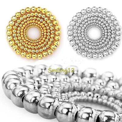 Lots 100/500pcs Silver Gold Plated Round Ball Spacer Beads Findings 4/5/6/8mm