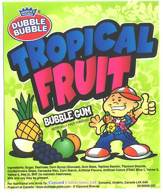 "120 TROPICAL FRUIT Dubble Bubble 24mm 1"" gumballs BULK candy gum vending double"