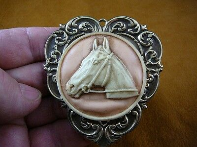 (CL54-6) HORSE RACE Stallion head mare orange + ivory CAMEO Brooch Pin Pendant