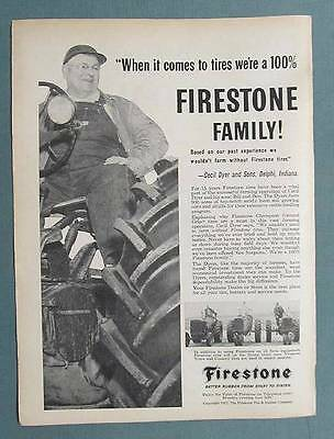 Original 1957 Firestone Ad with Photo Endorsement Cecil Dyer & Sons of Delphi IN