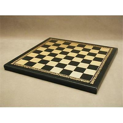 Ital Fama 204GN Pressed Leather Black and Gold Chess Board 1 in. Square