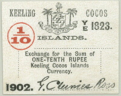 SCARCE LITTLE KEELING-COCOS ISLANDS NOTE P-S123 1/10 RUPEE 1902 in UNC!