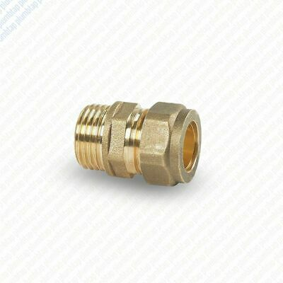 Brass Compression Male Iron Straight Pipe Plumbing Fittings Couplings 8 10 15 22