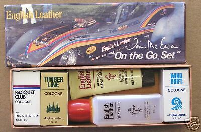 "1978 RARE TOM MCEWEN ""MONGOOSE"" CORVETTE FUNNY CAR ENGLISH LEATHER COLOGNE SET"