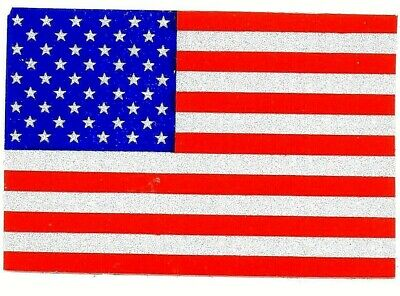 "REFLECTIVE AMERICAN FLAG VINYL DECAL -2"" x 3""  HIGHLY REFLECTIVE U.S. FLAG DECAL"