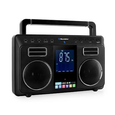 Tragbares Hifi Stereo Bluetooth Radio Boombox Anlage Ukw Tuner Digitaluhr Lcd