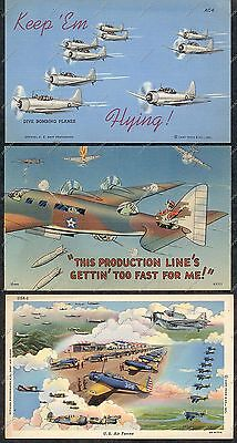 3 WWII Era POSTCARDS US Air Force DIVE BOMBING PLANE Bomber AVIATION COMIC Linen