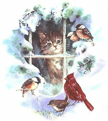 Winter Cat Window Bird Snow Select-A-Size  Waterslide Ceramic Decals Xx