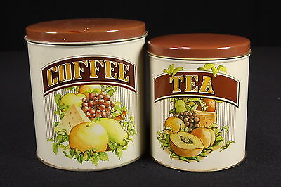 1982 Chein Industries Cheinco Metal Nesting Tea & Coffee Canisters W/ Lids Fruit