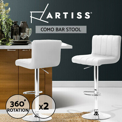 Artiss 2x Leather Bar Stools Kitchen Chairs Bar Stool White Gas Lift Swivel