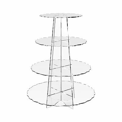 4 Tier Cup Cake Stand Wedding Birthday Party Acrylic Cupcake Display - Scalloped