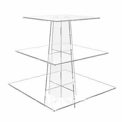 3 Tier Cup Cake Stand Wedding Birthday Cup Cake Acrylic Display - Square