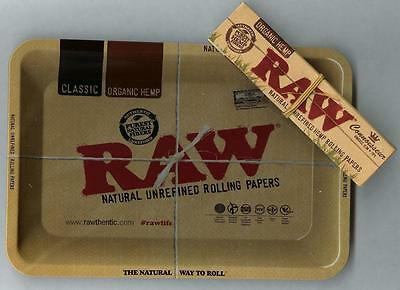 "RAW ""MINI"" Rolling Tray(7""x 5"")+CONNOISSEUR KING SIZE ""ORGANIC HEMP"" PAPERS+TIPS"