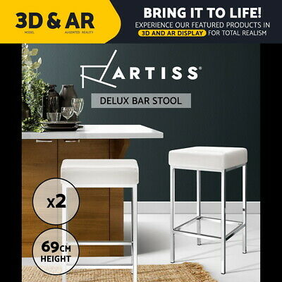 【20%OFF】2x  Leather Bar Stools Modern Kitchen Bar Stool Chairs Steel Legs White