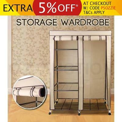Large Space Storage Portable Bedroom Wardrobe Stable Easy Assemble Beige