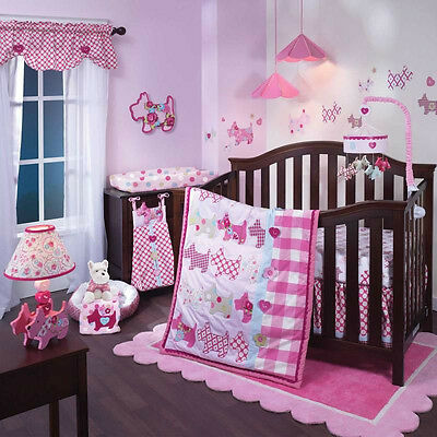 Lambs & Ivy 5 Piece Baby Nursery Crib Bedding Set Puppy Tales w/ Bumper NEW