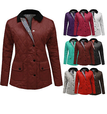 3d6e5eea310 Ladies Jacket New Womens Quilted Padded Button Zip Coat Plus Size 8 To 20
