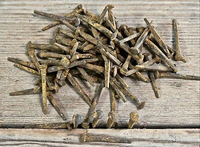 "1"" brad NAILS 100 quantity round small rose head square vintage rusty PATINA"