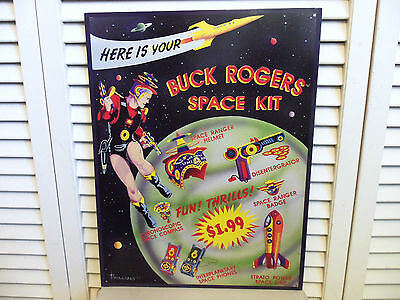 Vintage Buck Rogers Space Ship 50s Christmas Toys Advertising Tin Litho Sign