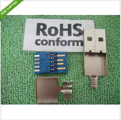 2set Solder Type USB A Male Plug 3.0 Assembly Rewireable RepairWireable US2