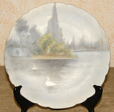 J.P. LIMOGES France - Hand Painted & Signed - Swan Water Scene COLLECTIBLE PLATE