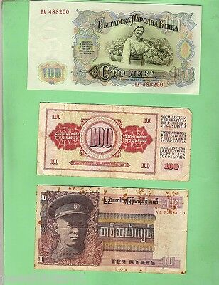 #d86.  Twelve  Well  Circulated World Banknotes
