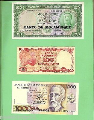 #d87.  Twelve  Well  Circulated World Banknotes