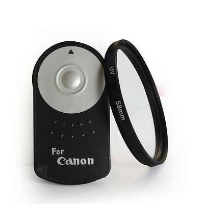 IR Wireless Remote RC-6 shutter for Canon EOS T1i/500D/T2i/550 + 58mm UV Filter