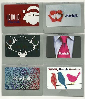 Marshalls Lot of (6) Gift Cards No $ Value Collectible incl. Christmas Holiday