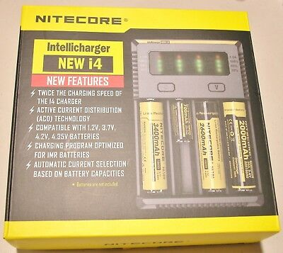 NITECORE i4 Intellicharger Charger For 18650 1850014500  w/ 12v AUTO ADAPTER NEW
