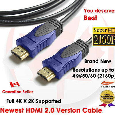 YellowKnife Premium 3 FT HDMI 2.0 Cable with Ethernet 24K Gold Plated - 4K X 2K