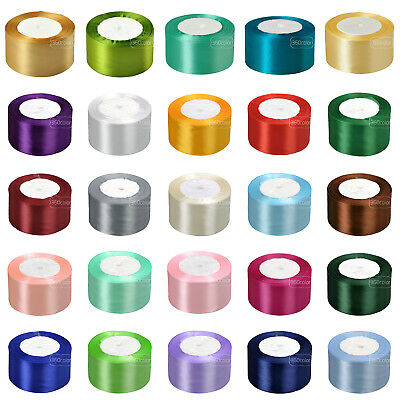 """25 Yards 50mm (2"""") Satin Ribbon Roll Bow Wedding Party Decoration Sewing Craft"""