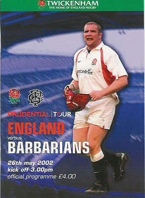 ENGLAND v BARBARIANS 2002 RUGBY PROGRAMME 26 MAY - TWICKENHAM