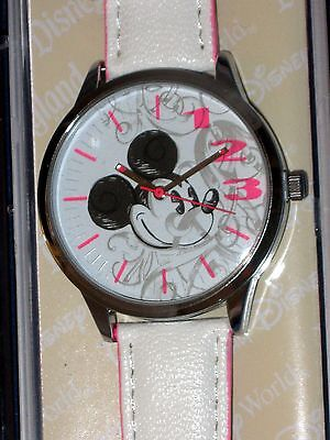 DISNEY PARKS MICKEY MOUSE Head White & Pink WATCH for Adults - NEW