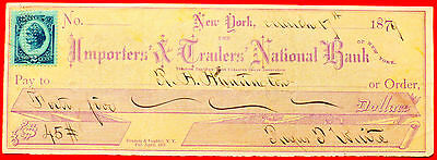 1879 Importers & Traders National Bank New York Cancelled Check