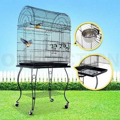 Stand-Alone Parrot Aviary Bird Cage On Wheels Budgie Canary Elegant Dome Top