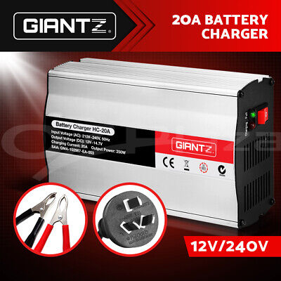 Giantz 12V Battery Charger Inverter 20 Amp Car ATV 4WD Boat Caravan Motorcycle