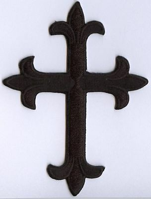 Fleur de lis Cross - Black - Religious Iron on Applique/Embroidered Patch