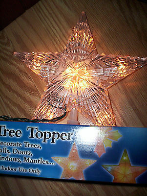 Prismatic lighted STAR TREE Top TOPPER clear glass crystal look acrylic NEW