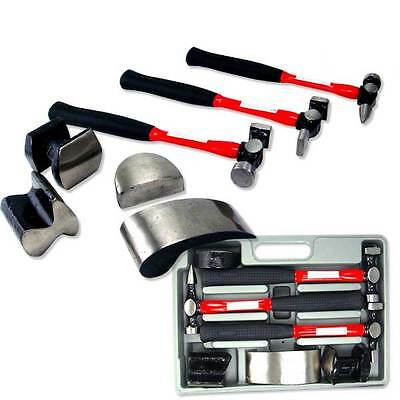 7 Pc Heavy Duty Auto Body Dolly Dent Repair Kit Hammer Curved,Utility