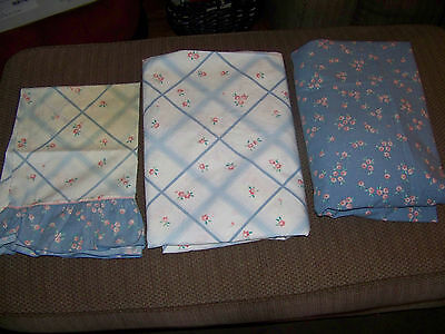 Vintage  No Iron Percale Twin Sheet Set Flat Fitted Pillow Case Ruffles So Soft!