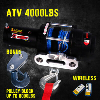 12V Wireless Synthetic Rope 4000LBS / 1814KGS Electric Winch for ATV 4WD BOAT