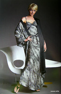 GOWN Womens 100% Pure SILK Black Cream Swirl SLEEPWEAR NIGHTWEAR NWT XS S  L