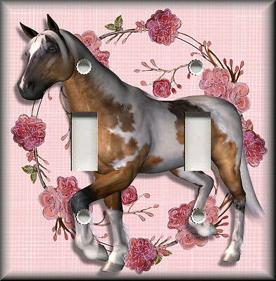 Metal Light Switch Plate Cover - Horse With Pink Flowers Girls Room Decor Horse