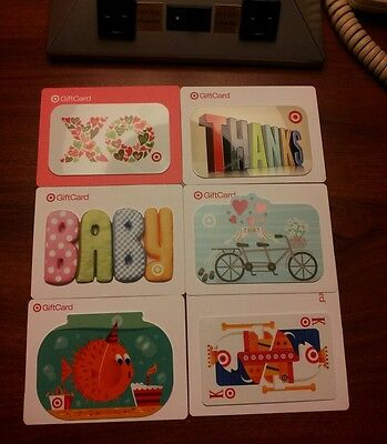 Lot of 6 Target Gift Cards Collectible Only, No Added Value