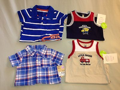 New 9 Months Lot Carters 4 Rompers Short Sleeve Polo Sleeveless Blue White