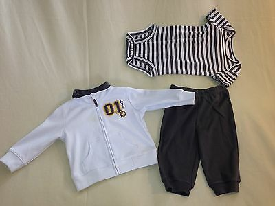 New 6 Months Lot Carters Bodysuit And Pants Jacket 3 Piece Set Blue & Gray